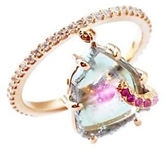 Sharon Khazzam Shimmee 18K Rose Gold, Watermelon Tourmaline, Pink Sapphire Diamond Charm Ring