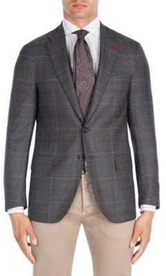 Isaia Contrast Windowpane Wool Sportcoat