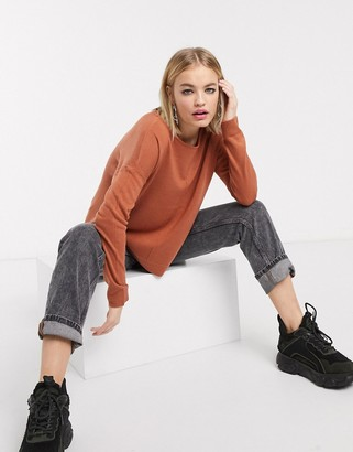 Noisy May Chen long sleeve boatneck jumper in brown