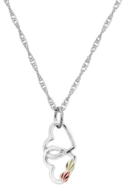 Black Hills Gold Double Heart Pendant in Sterling Silver with 12K Rose and Green Gold