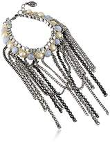 Ben-Amun Jewelry Semi-Precious Stone and Simulated Pearl Fringe Bracelet