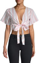 Charlie Holiday Soho Tie-Accented Cropped Top