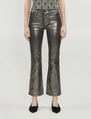 J Brand Selena metallic cropped high-rise straight-leg coated jeans
