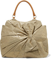 RED Valentino Leather-trimmed metallic canvas tote