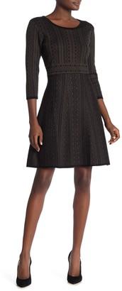 Nina Leonard Geometric Print Sweater Dress