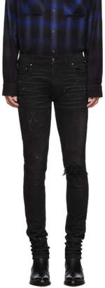 Amiri Black Paint Military Patch Jeans