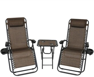 Sunnydaze Zero Gravity Lounge Lawn Chair With Side Table