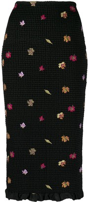 Off-White Embroidered-Leaves Mid-Length Skirt