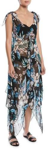 Diane von Furstenberg Sleeveless Chiffon Floral-Print Coverup Maxi Dress