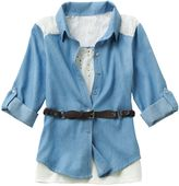 Knitworks mock-layer lace chambray top - girls plus