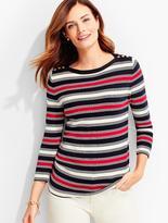Talbots Button-Shoulder Sweater Topper-Renee Stripes