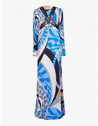 Emilio Pucci Printed satin maxi dress