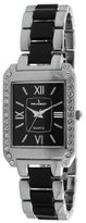 Peugeot Women's 7074BK Acrylic Link Crystal Accented Silver-tone Black Watch