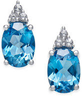 Macy's Blue Topaz (2-3/4 ct. t.w.) and White Topaz (1/5 ct. t.w.) Stud Earrings in 10k White Gold