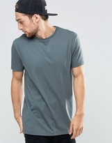 Asos Longline T-Shirt With Crew Neck In Slate