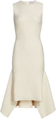 Alexander McQueen Sleeveless Asymmetric Matelasse Sheath Dress