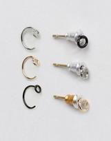 Asos Mini Stud Earring Pack In Mix Metal Finish