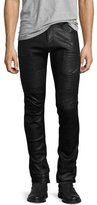 J Brand Acrux Leather Moto Skinny Pants, Black