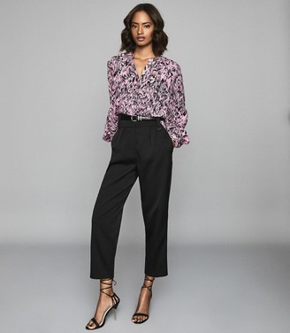 Reiss Gwen Print - Gather Detailed Blouse in Pink