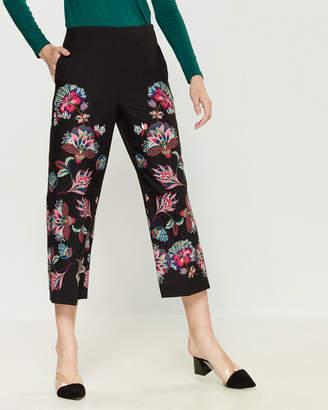 Mariella Rosati Floral Flat Front Wide Leg Trousers