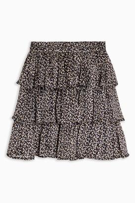 Topshop Navy Floral Print Metallic Thread Rara Skirt