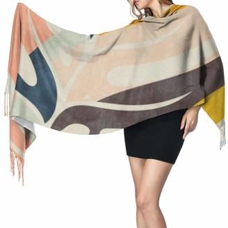 Rcivdkem Women Scarves Winter Long Soft Warm Shape Leave Modern Mid Century Cashmere-like Pashmina Shawls Wraps Tassel Shawl Stole Scarf