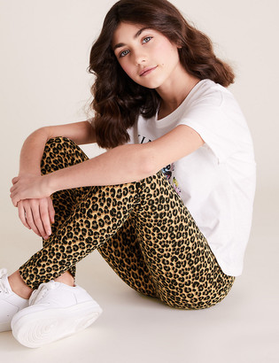 Marks and Spencer Organic Cotton Leopard Print Leggings (6-16 Yrs)
