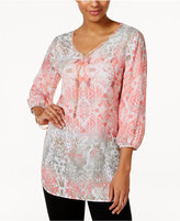 JM Collection Printed Necklace Tunic, Only at Macy's