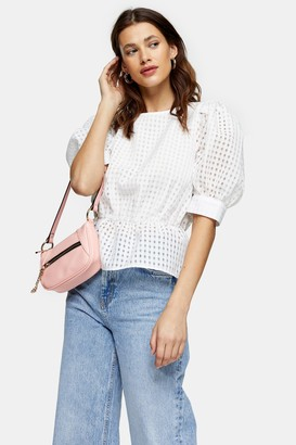 Topshop Ivory Sheer Check Puff Sleeve Blouse