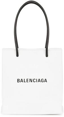 Balenciaga Shopping mini white leather tote