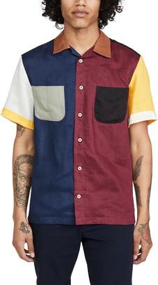 MONITALY Colorblocked Short Sleeve Vacation Shirt