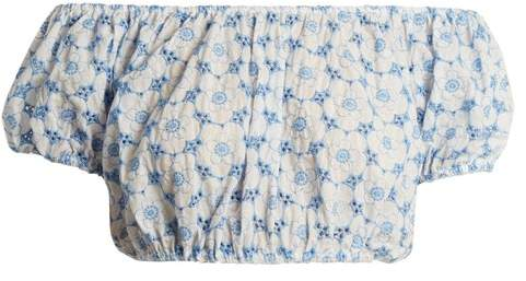 Lisa Marie Fernandez Leandra Floral Embroidered Cotton Cropped Top - Womens - Blue Multi