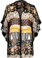 River Island Womens Yellow print cutwork kimono