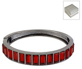 Kenneth Cole Red Baguette Hinged Bangle Bracelet in a Gift Box