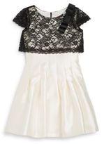 Zoë Ltd Girl's Lace Overlay Pleated Dress