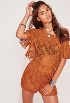 Missguided Sheer Lace Bardot Pleated Crop Top Orange