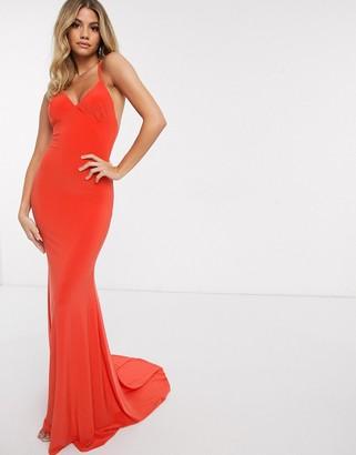 Club L London Club L cross back fishtail maxi dress in orange