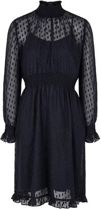 Birgitte Herskind Melanie navy fil coupe chiffon dress