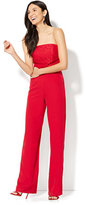 New York & Co. Strapless Lace-Accent Jumpsuit - Red