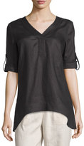Neiman Marcus Linen Arched-Hem Rolled-Sleeve Tunic, Black