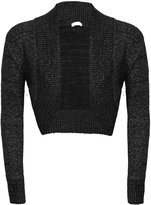 Fashion Box Womens Plain Lurex Front Open Bolero Knitted Cropped Top Shrug