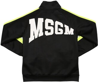 MSGM Zip Logo Printed Cotton Blend Sweatshirt