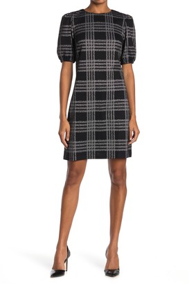 London Times Plaid Textured Bubble Sleeve Sheath Dress