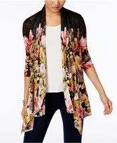INC International Concepts Petite Floral-Print Draped Cardigan, Only at Macy's