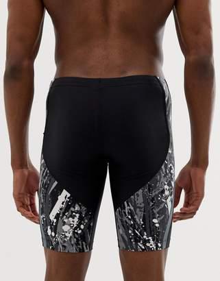 Nike Swimming jammer in black with splash print NESS9002-001