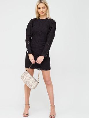 River Island Ruched Sleeve Broderie Mini Dress - Black