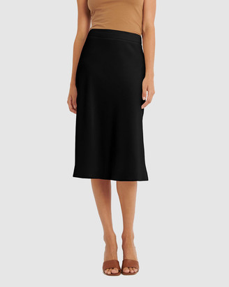 Forcast Women's Black Midi Skirts - Anita Slip Skirt - Size One Size, 6 at The Iconic