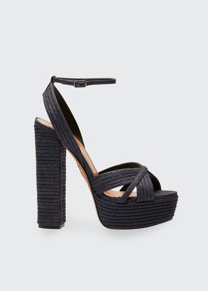 Aquazzura Sundance Glitter Platform Sandals