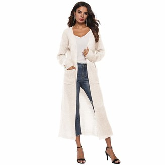 Lazzboy Womens Long Sleeve Open Front Pockect Pure Colour Maxi Long Sweater Overcoat Cardigan(M