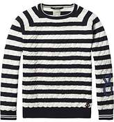 Scotch Shrunk Jungen Pullover Quilted Pull with Subtle Artwork At Sleeve